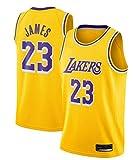 runvian Lebron James, Camiseta de Baloncesto, Tejido Bordado, Ropa de Trabajo, Ropa Deportiva, Lakers (Amarillo, S)