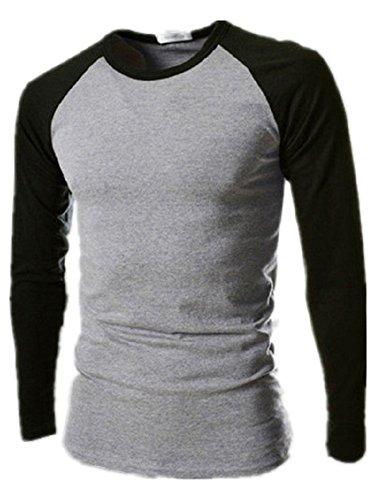 BOMOVO Herren Zwei-Farbe Funktionsunterwäsch Sweatshirt Terris langärmlig Top Grau