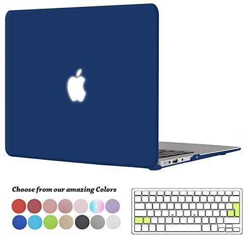 TECOOL MacBook Air 13 Hülle, Slim Plastik Hartschale Schale Cover Zubehör mit EU Transparent Tastaturschutz Schutzhülle für Apple MacBook Air 13.3 Zoll Modell:A1466 / A1369 - Navy Blau (Macbook Air 13 Hülle (slim-version)
