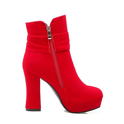 VogueZone009 Damen Rein Weiches Material Hoher Absatz Reißverschluss Schließen Zehe Stiefel, Rot, 40