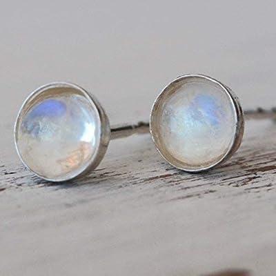 Moonstone boucles d'oreille en argent sterling boucles d'oreille 4mm minuscules boucles d'oreille pour les femmes