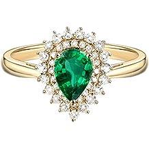 Epinki Oro de 18 Quilates Anillos Emerald Diamante Flores Forma Mujeres Anillo de Oro Anillos para
