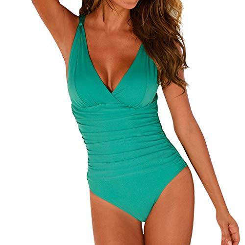 9f9c61cb59 MEETEW Women's One Piece V-Neckline Ruched Monokini Solid Swimwear Tummy  Control Bathing Suit Large