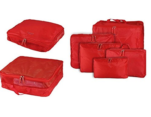 EZ Life Multipurpose Bags-in-Bag Travel Organizer - Red - set of 5- Nylon
