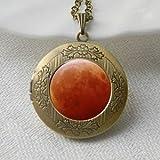Rojo Collar De Luna, Rojo Luna Collar, Colgante Joyas Collar con camafeo, collar con colgante de collar de imagen, joyas, diseño de reloj