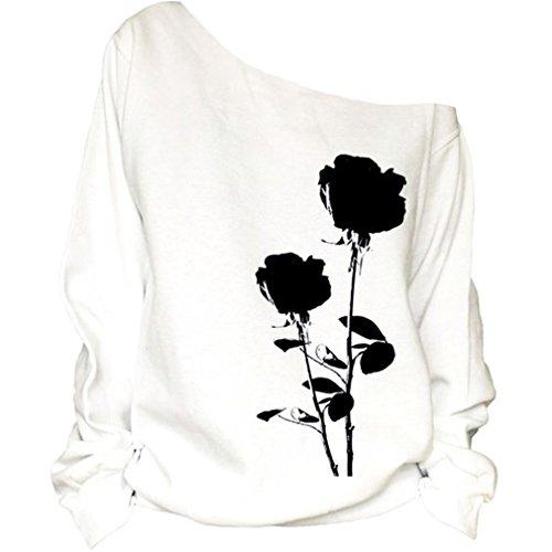 Nawoshow Frauen-Damen Anker weg von der Schulter Maxi-Slouchy Sweatshirt Pullover Tops Blusen (Rose) M (Waschen Fit Relaxed Jeans)