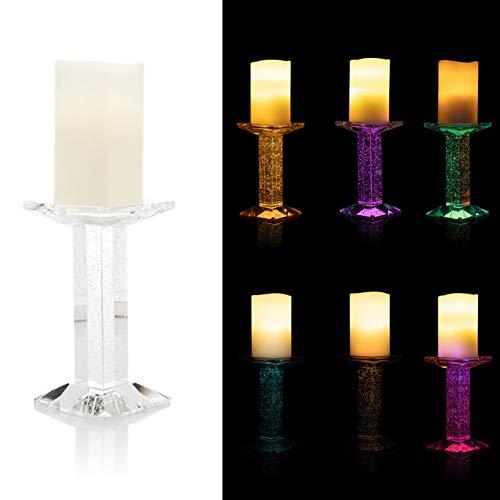 DbKW LED Kerze mit zauberhaftem Glas- Kerzenständer, Bubble Effekt durch doppelte LED Beleuchtung, Timer, Warmweißes Licht oder Farbwechsel (Transparent/Elfenbein) -