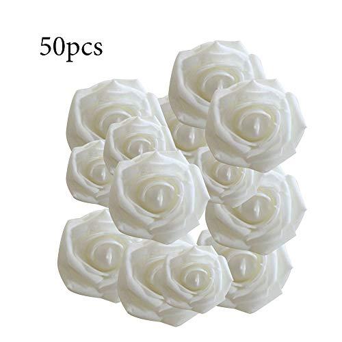 Raybre Art® 50 stücke künstliche Blumen, 6 cm Schaum Rose Blume Kopf Dekoration DIY für Hochzeit Brautjungfer brautsträuße mittelstücke, Party, Dekoration, büro Decor (weiß)