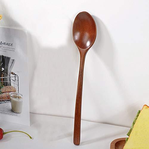 YUNGYE Hochwertige Naturholz Löffel Gabel Bambus Küche Kochen Esszimmer Suppe Tee Honig Kaffee Utensil Werkzeuge Suppe-Teelöffel Geschirr (Color : Brown)