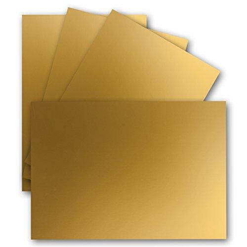 50 Einzel-Karten DIN A6-10,5 x 14,8 cm - 240 g/m² - Gold Metallic - Ton-Papier Qualität, Bastel-Karten - Bastelkarton - blanko Postkarten