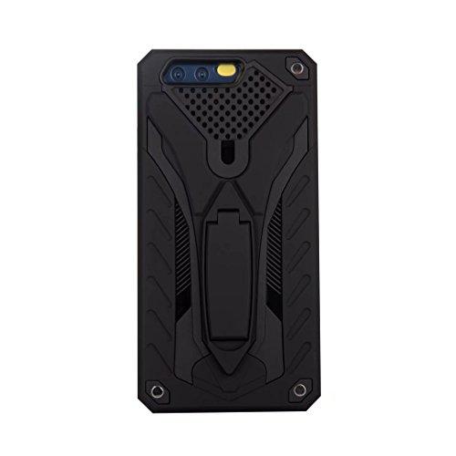 EKINHUI Case Cover Neue Stylish Hybrid Armor Schutzhülle Case Shockproof Dual Layer PC + TPU Back Cover mit Kickstand für [Shock Absorbtion] für Huawei P10 ( Color : Rosegold ) Black
