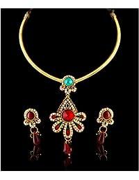Variation Gold Plated Fancy Designer Wedding Necklace Set For Women-VD14177