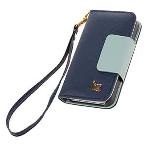 Xhorizon Luxury Étui en cuir PU à rabat magnétique avec dragonne et emplacement cartes pour iPhone Samsung Motif oiseau iPhone 4 4S  - bleu marine