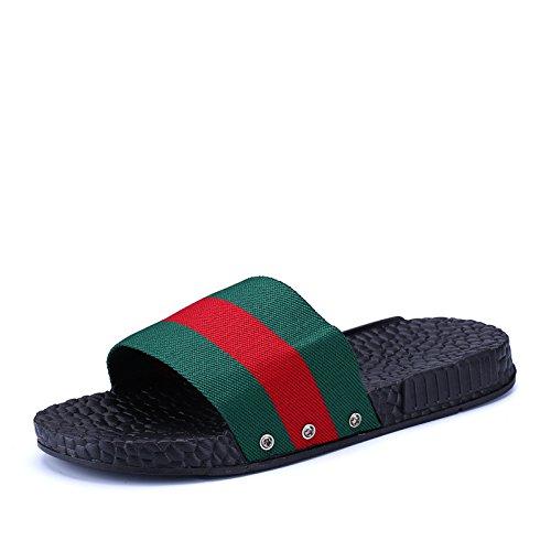 Shaoeo Chaussons Pour Hommes Cool Chaussons Chaussons Hommes D'Été De La Mode Personnalisé Dentelle Beach red green