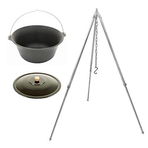 Grillplanet Set Gulaschkessel Gulaschtopf 10 Liter aus Gusseisen mit Dreibein 160 cm und Deckel emailliert