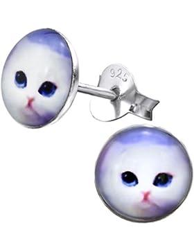 So Chic Schmuck - Kinder Ohrstecker Katze Sterling Silber 925