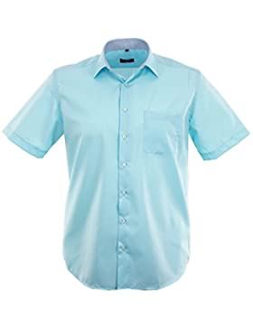 ETERNA Herren Kurzarm Hemd Modern Fit Chambray Modern-Kent türkis / aqua Brusttasche mit Patch 8502.61.C15P