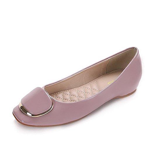 AalarDom Damen Weiches Material Ziehen Auf Quadratisch Zehe Niedriger Absatz Pumps Schuhe Pink-Metallisch