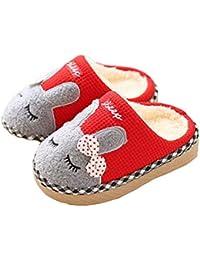 b4cc580b922 Niño Zapatillas de Patrón de Conejo de Dibujos Animados, Tukistore Niños  niñas Pantuflas de algodón de Felpa Zapatillas de Deporte Suave Ligero…