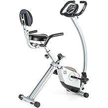 Capital Sports Trajector bicicleta estática plegable (dispositivo de entrenamiento con manillar de 1,4 kg, sillín extra ancho, 8 niveles de resistencia, monitor) - plateado