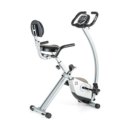 Capital Sports Trajector Cyclette X-Bike (Schienale di Supporto, Maniglie Laterali, Volano da 1,4 kg, 8 Livelli, Computer con Display LCD, Misurazioni Pulsazioni Manubrio) Grigio
