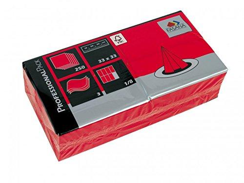 Servietten Fasana 1000 Stück   3-lagige Papierservietten in Rot   Serviette 1/8-Falz Größe: 33x33 cm, Dekoserviette, Prägeservietten für Serviettenhalter & Spender
