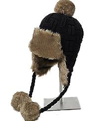 Invierno de las mujeres de lana que hace punto de la protección auditiva Warm Plus Cap lana gruesa ( Color : A )