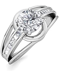 Ring For Women With Certified Real Diamond Taper Baguette Diamonds Wt 0.22 Ct In Sterling Silver 925, Silver Taper...