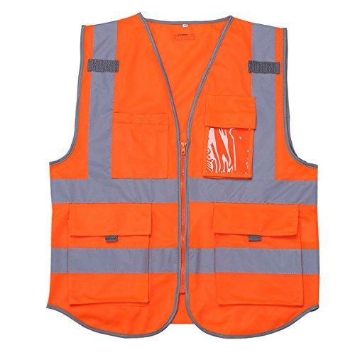 Freebily Unisex reflektierende Warnweste Sicherheitsweste mit Taschen und Reißverschluss Sicherheitswarnweste - M-XXL- 3 Farben zum Auswahl Orange L