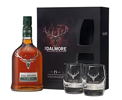 Dalmore 15 Year Old Single Malt Scotch Whisky Gift Set with Two Branded Glasses (Case of 6)