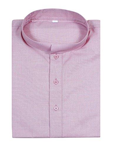 Mens cotone a kurta stare collare t-shirt con manica lunga -size l