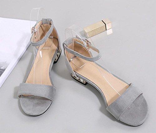 Été sandales femmes parole boucle rude avec des chaussures ouvertes diamant sandales plates suede