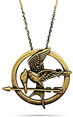 New World The Hunger Games Catching Fire Logo Mockingjay Pendant Necklace Vintage