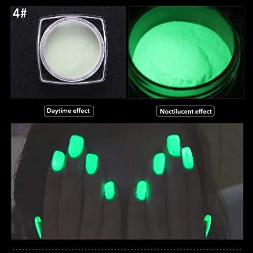 VANMO Fluoreszierendes Pulver Selbstleuchtend | Nachtleuchtende Pigmente,1 Schachtel Nagellack + 1 Pinsel