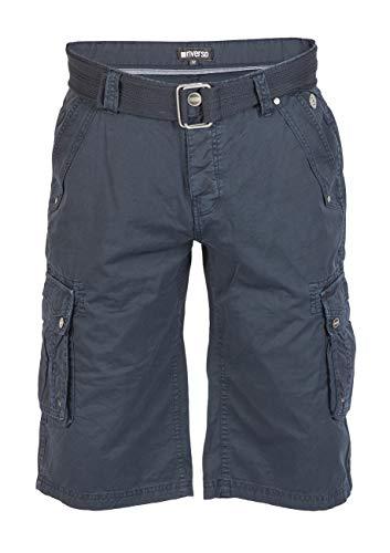 riverso Herren Cargo Shorts Anton mit Gürtel Bermuda Kurze Hose Aus 100% Baumwolle - Blau - Grau - Oliv, Größe:W 46, Farbe:Navy (19400)