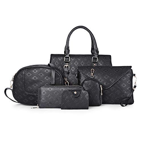 Wenquan,6 STÜCKE Mode Geprägte Famale Handtasche Einzelne Schulter Walle(color:SCHWARZ) - Geprägte Mode Handtasche