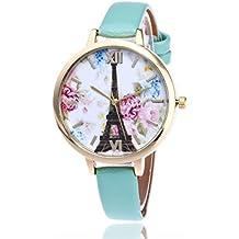 vovotrade Número romano París Torre Eiffel cristal de la PU Cuero reloj de pulsera de cuarzo (verde)