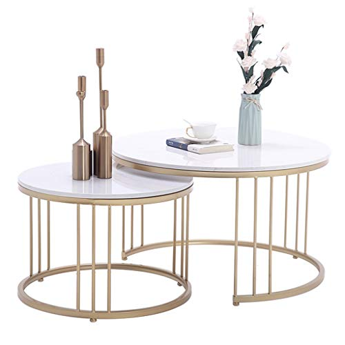 Ensemble de Table Basse de Salon Moderne, Support de Table en Fer forgé, Plateau en marbre Naturel, Affichage à Combinaison, Simple et élégant, Rond, Blanc
