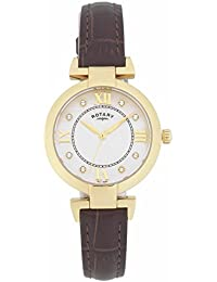 Rotary Ladies Leather Strap Mother of Pearl and Austrian Crystal Dial Gold Watch