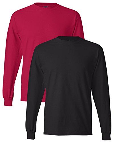 Hanes uomo long-sleeve beefy-t camicia (confezione da 2) 1 Red / 1 Black