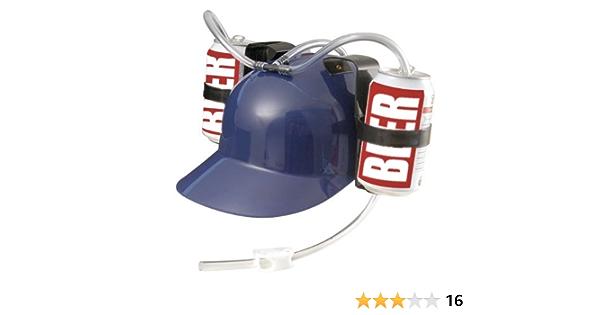 Gadget per Carnevale Relaxdays Set da 4 Cappelli Porta Birra per 2 Lattine Giallo Feste Elmetto con cannuccia Calcio