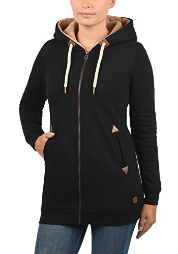 DESIRES Vicky Pile Straight Zip Damen Lange Sweatjacke Cardigan Sweatshirtjacke Mit Teddy-Futter Und Kapuze, Größe:XS, Farbe:Black PIL (P9000) - 2