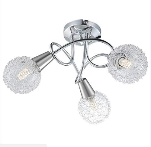 BAIF LED-Deckenleuchte Zeitgenössische 3-Wege-Deckenleuchte aus poliertem Chrom mit gebogenem Arm und gewirbelten Kuppelblenden 230 V / g9 I IP20 [Energieklasse A +], 3-polig -