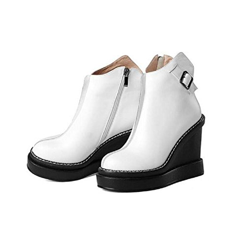 YYH Hiver fermoir femmes rond tête Wedges bottes imperméables Naked cuir plateforme haute Bootie White