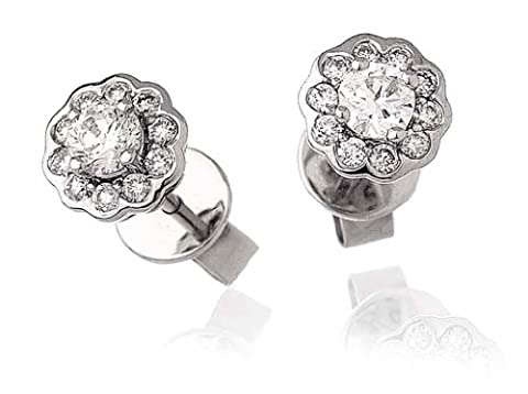 0.50CT Certified G/VS2 Round Brilliant Cut Cluster Flower Shape Diamond Stud Earrings in 18K White Gold