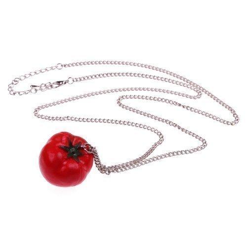 Halskette - ca. 70cm lange Kette - Gemüse Anhänger Paradeiser Tomate Obst Früchte Retro (Tomaten Ketchup Kostüm)