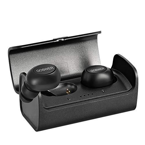 Bluetooth Kopfhörer in Ear,GOSWER Bluetooth 5.0 Kopfhörer Kabellos Wasserdicht Mini Dual Sport Ohrhörer mit Mikrofon und 400mAh Portable Ladebox Compatibel für iPhone Android Samsung iPad Huawei HTC