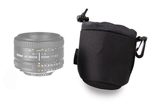 DURAGADGET Bolsa / Funda Para Lente Nikon 50 mm / F 1,8 AF D // AF-S 50mm F1.4 G // AF-S 50mm F1.8 G - Con Cierre Seguro Y Gancho Para Cinturón - Neopreno De Alta