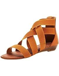 a078f7668b1 Sandalias Mujer Verano 2019 riou Correa elástica cuña Cuero Zapatos Romanos  Fondo Plano Moda Casuales de