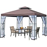 Outsunny 3 x 3 Meters Gazebo Marquee Metal Party Tent Canopy Pavillion Patio Garden Shelter Steel Frame with mesh sidewall and Water strip Coffee